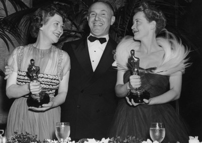 Fay Bainter, Jack L. Warner and Bette Davis at the 11th Annual Academy Awards held on February 23, 1939.