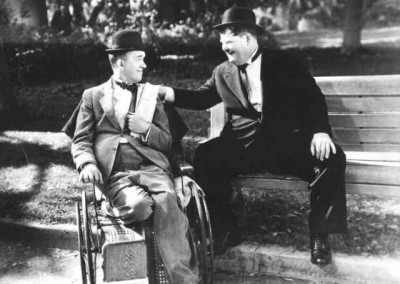 Stan Laurel and Oliver Hardy in a scene from the 1938 film Block-Heads.