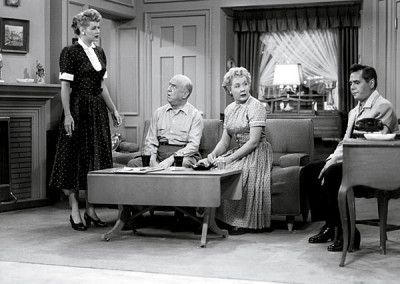 On the set of the TV show I Love Lucy.