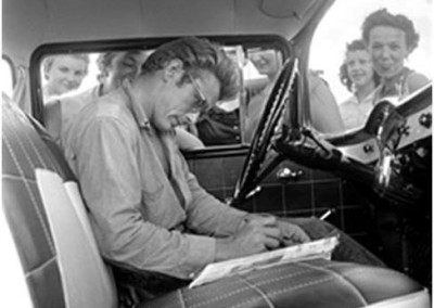 James Dean signing autographs (1955)