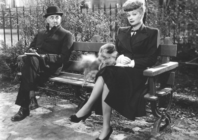 George Zucco and Lucille Ball in Lured (1947).