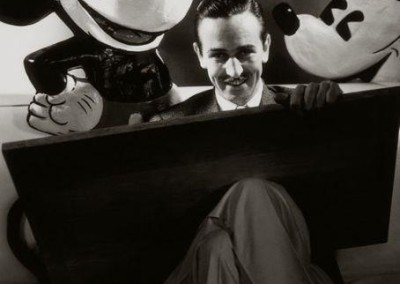 Walt Disney seen here with Mickey Mouse.