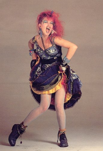 Cyndi Lauper shows off her 1980s style