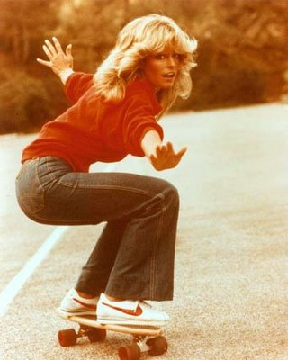 Farrah Fawcett skateboarding