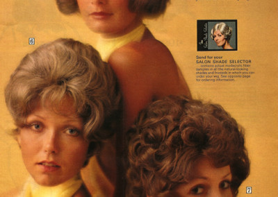 Ad for The Crushables, pre-styled, ready to wear modacrylic wigs (1972)