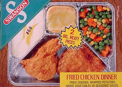 The classic 70s TV Dinner in the aluminum tray.