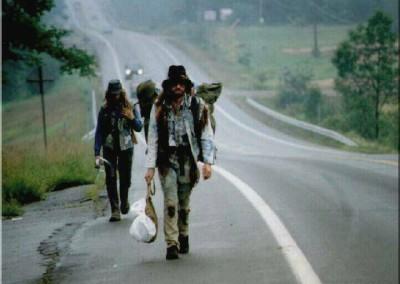 Walking to the Woodstock Music Festival (1969)
