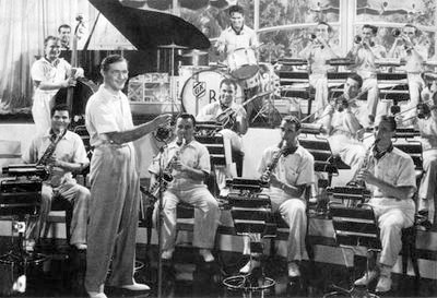 Benny Goodman and His Orchestra in a scene from the 1937 film Hollywood Hotel.