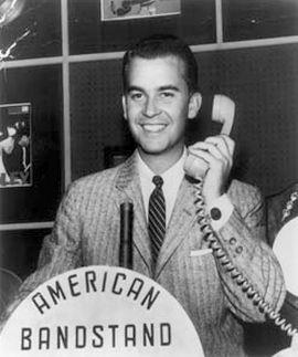 Dick Clark at his DJ post in the 1950s.